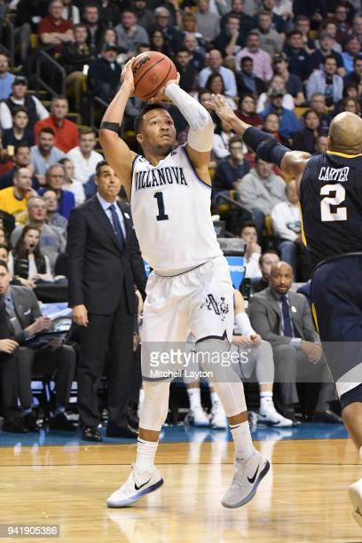 Jalen Brunson of the Villanova Wildcats takes a jump shot during the 2018 NCAA Men's Basketball Tournament East Regional against the West Virginia...
