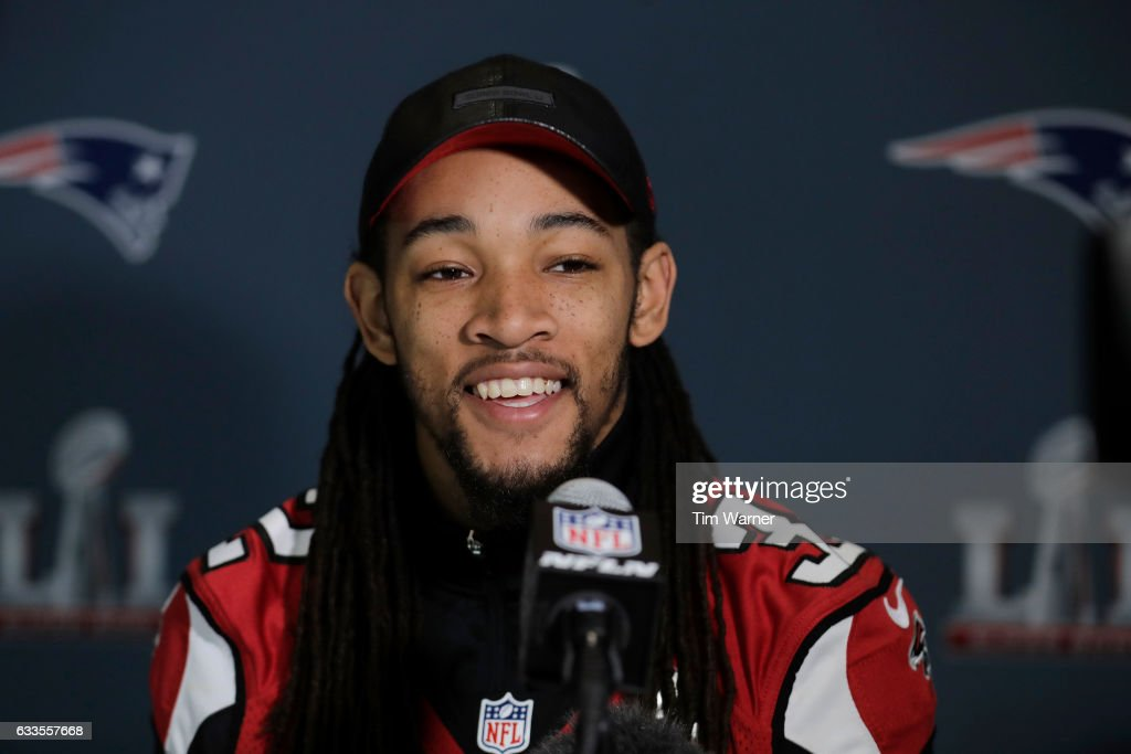 Jalen Collins #32 of the Atlanta Falcons addresses the media during the Super Bowl LI press conference on February 2, 2017 in Houston, Texas.