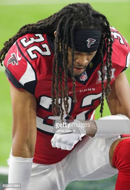 Jalen Collins of the Atlanta Falcons prepares to play the second half against the New England Patriots during Super Bowl 51 at NRG Stadium on...