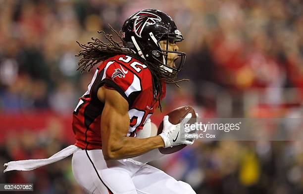 Jalen Collins of the Atlanta Falcons reacts after a fumble recovery in the second quarter against the Green Bay Packers in the NFC Championship Game...