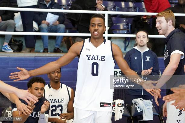 Jalen Gabbidon of the Yale Bulldogs is introduced before a college basketball game against the against the Howard Bison at Burr Gymnasium on January...