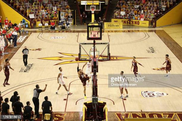 Jalen Graham of the Arizona State Sun Devils draws a foul as he attempts a shot against the Arizona Wildcats during the second half of the NCAAB game...