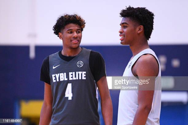Jalen Green and Josh Christopher look on during the Nike Academy Showcase Game on August 10 2019 at the Los Angeles Southwest College in Los Angeles...