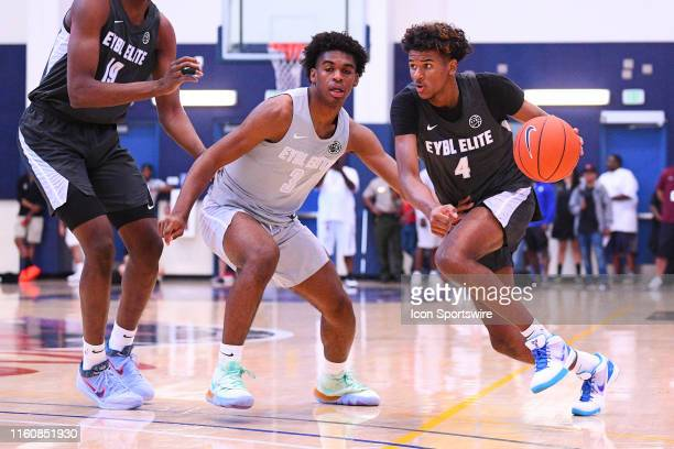 Jalen Green drives past Josh Christopher during the Nike Academy Showcase Game on August 10 2019 at the Los Angeles Southwest College in Los Angeles...