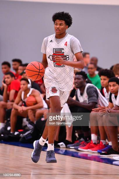 Jalen Green from San Joaquin Memorial High School dribbles up the court during the adidas Summer Championships on July 20 2018 at the Ladera Sports...