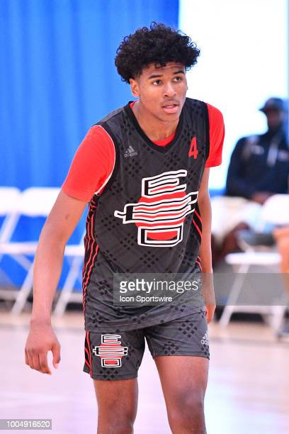 Jalen Green from San Joaquin Memorial High School looks on during the adidas Summer Championships on July 20 2018 at the Ladera Sports Center in...