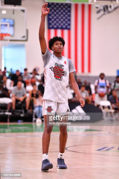 Jalen Green from San Joaquin Memorial High School puts three fingers in the air during the adidas Summer Championships on July 20 2018 at the Ladera...