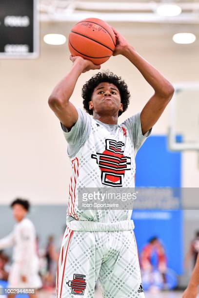 Jalen Green from San Joaquin Memorial High School shoots a free throw during the adidas Summer Championships on July 20 2018 at the Ladera Sports...