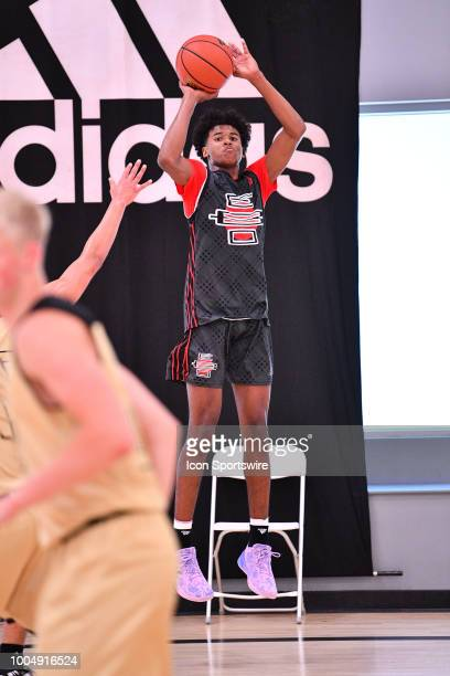 Jalen Green from San Joaquin Memorial High School shoots a three pointer during the adidas Summer Championships on July 20 2018 at the Ladera Sports...