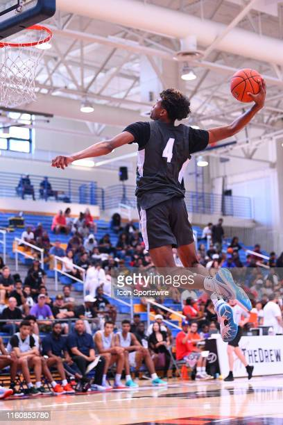 Jalen Green goes up for a dunk during the Nike Academy Showcase Game on August 10 2019 at the Los Angeles Southwest College in Los Angeles CA