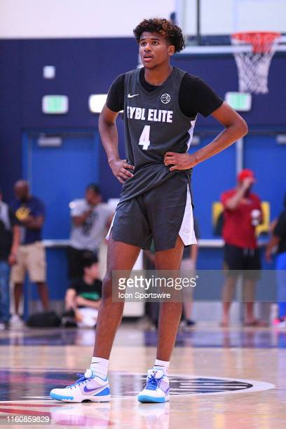 Jalen Green looks on during the Nike Academy Showcase Game on August 10 2019 at the Los Angeles Southwest College in Los Angeles CA