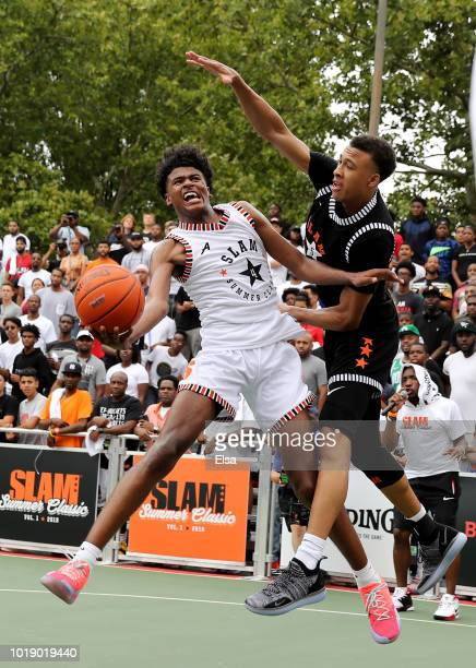 Jalen Green of Team Stanley heads for the net as RJ Hampton of Team Ramsey defends during the SLAM Summer Classic 2018 at Dyckman Park on August 18...