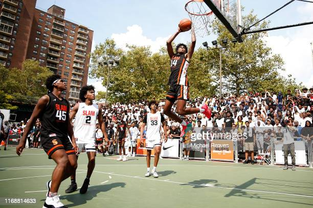 Jalen Green of Team Zion dunks against Team Jimma during the SLAM Summer Classic 2019 at Dyckman Park on August 18 2019 in New York City