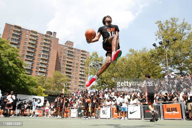 Jalen Green of Team Zion dunks prior to the game against Team Jimma during the SLAM Summer Classic 2019 at Dyckman Park on August 18 2019 in New York...
