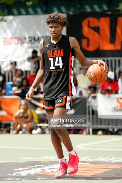 Jalen Green of Team Zion in action against Team Jimma during the SLAM Summer Classic 2019 at Dyckman Park on August 18 2019 in New York City