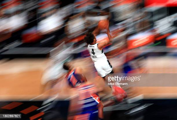 Jalen Green of the G League Ignite drives to the basket during a G-League game against the Westchester Knicks at AdventHealth Arena at ESPN Wide...