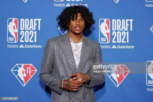 Jalen Green poses for photos on the red carpet during the 2021 NBA Draft at the Barclays Center on July 29, 2021 in New York City.