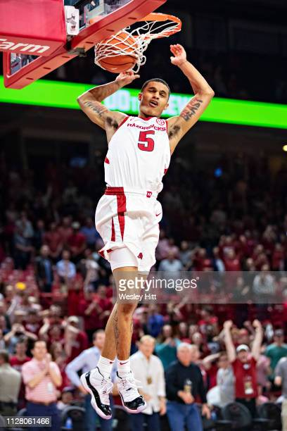 Jalen Harris of the Arkansas Razorbacks goes up for a dunk against the Vanderbilt Commodores at Bud Walton Arena on February 5 2019 in Fayetteville...