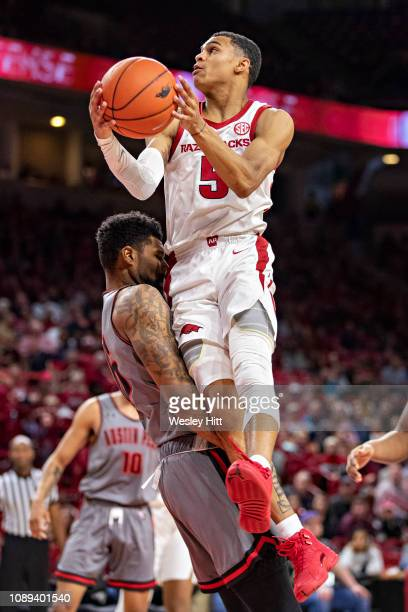 Jalen Harris of the Arkansas Razorbacks goes up for a shot during a game against the Austin Peay Governors at Bud Walton Arena on December 28 2018 in...