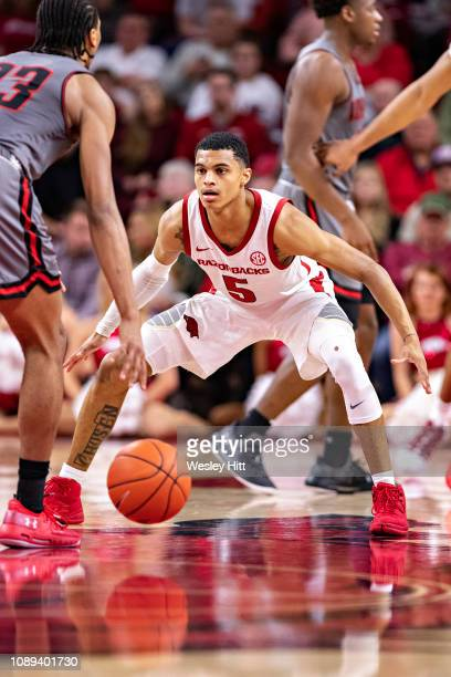 Jalen Harris of the Arkansas Razorbacks plays defense during a game against the Austin Peay Governors at Bud Walton Arena on December 28 2018 in...
