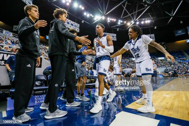 Jalen Harris of the Nevada Wolf Pack comes off the court during the game against the California Baptist Lancers at Lawlor Events Center on November...
