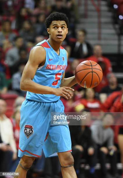 Jalen Harris of the New Mexico Lobos brings the ball up the court against the UNLV Rebels during their game at the Thomas Mack Center on February 1...