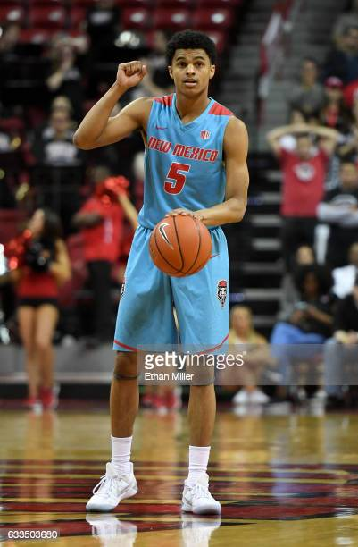 Jalen Harris of the New Mexico Lobos sets up a play against the UNLV Rebels during their game at the Thomas Mack Center on February 1 2017 in Las...