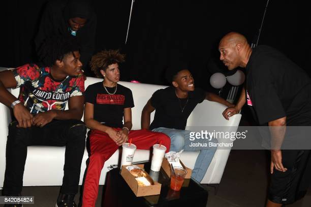 Jalen Hill LaMelo Ball Jaylen Hands and LaVar Ball attend Melo Ball's 16th Birthday on September 2 2017 in Chino California