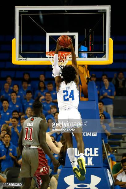 Jalen Hill of the UCLA Bruins dunks the ball during a game against the Utah Utes at Pauley Pavilion on February 09 2019 in Los Angeles California