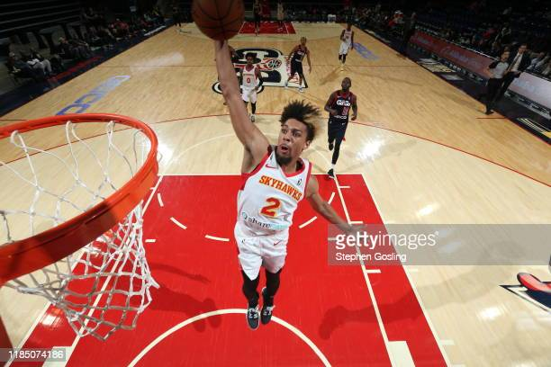 Jalen Hudson of the College Park Skyhawks dunks the ball against the Capital City GoGo during an NBA GLeague game on November 27 2019 at...