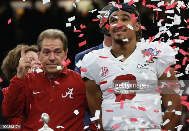 Jalen Hurts of the Alabama Crimson Tide and head coach Nick Saban celebrate thier win after the AllState Sugar Bowl against the Clemson Tigers at the...