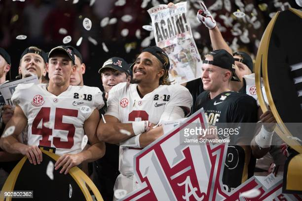Jalen Hurts of the Alabama Crimson Tide celebrates after defeating the Georgia Bulldogs during the College Football Playoff National Championship...