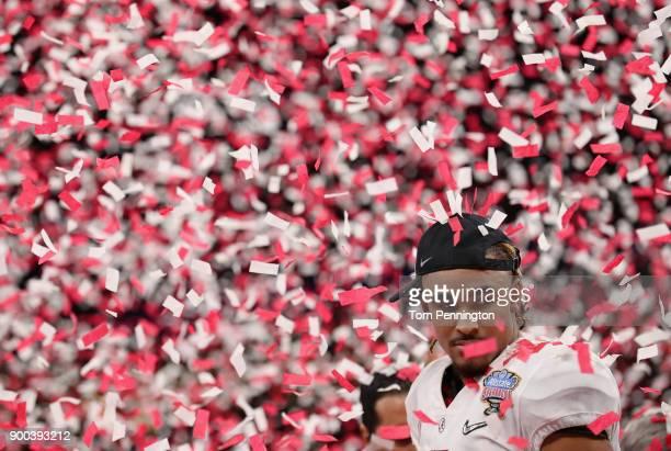 Jalen Hurts of the Alabama Crimson Tide celebrtes after winning the AllState Sugar Bowl against the Clemson Tigers at the MercedesBenz Superdome on...
