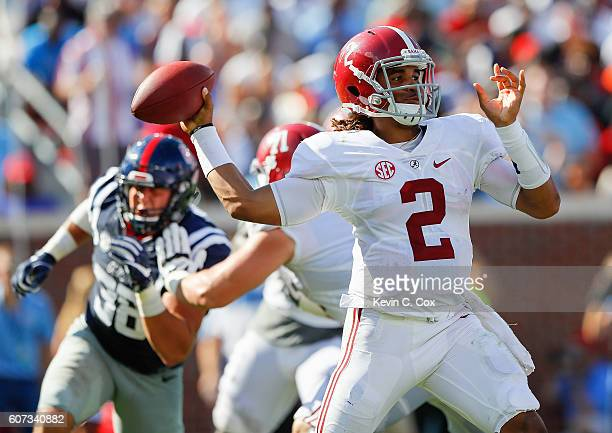 Jalen Hurts of the Alabama Crimson Tide looks to pass against the Mississippi Rebels at Vaught-Hemingway Stadium on September 17, 2016 in Oxford,...