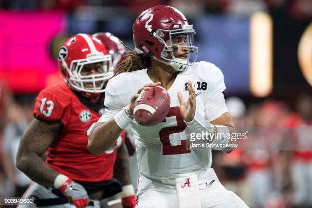 Jalen Hurts of the Alabama Crimson Tide passes against the Georgia Bulldogs during the College Football Playoff National Championship held at...