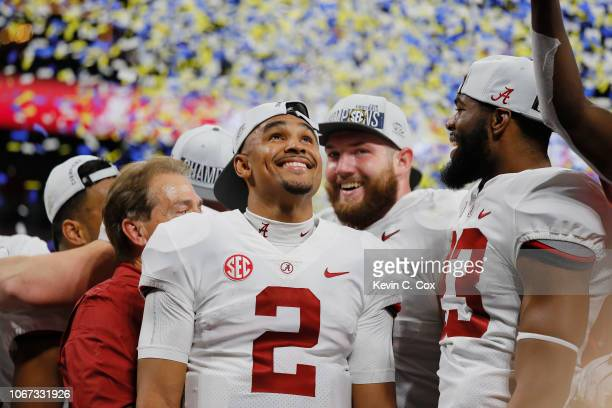 Jalen Hurts of the Alabama Crimson Tide reacts after defeating the Georgia Bulldogs 35-28 in the 2018 SEC Championship Game at Mercedes-Benz Stadium...