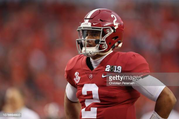 Jalen Hurts of the Alabama Crimson Tide warms up prior to the CFP National Championship against the Clemson Tigers presented by ATT at Levi's Stadium...