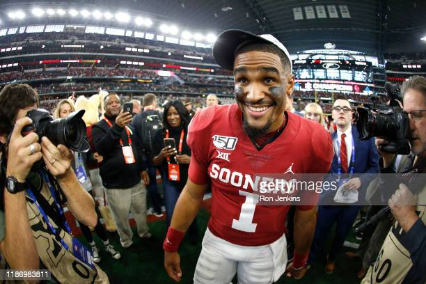 Jalen Hurts of the Oklahoma Sooners celebrates the teams win over the Baylor Bears following the Big 12 Football Championship at ATT Stadium on...