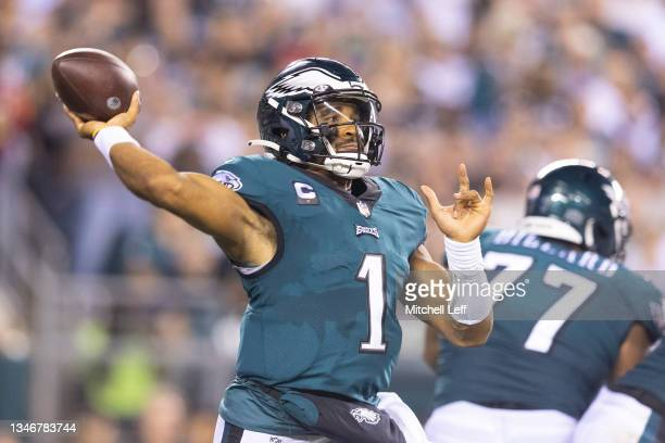 Jalen Hurts of the Philadelphia Eagles passes the ball against the Tampa Bay Buccaneers at Lincoln Financial Field on October 14, 2021 in...