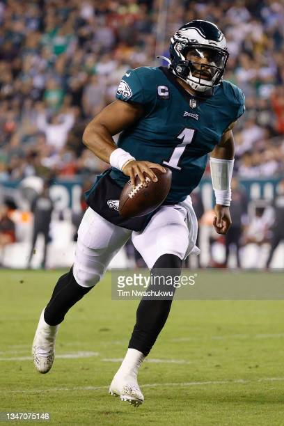 Jalen Hurts of the Philadelphia Eagles rushes the ball against the Tampa Bay Buccaneers at Lincoln Financial Field on October 14, 2021 in...
