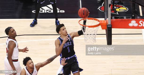 Jalen Johnson of the Duke Blue Devils shoots the ball against the Louisville Cardinals at KFC YUM! Center on January 23, 2021 in Louisville, Kentucky.
