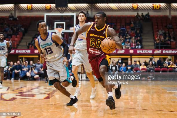 Jalen Jones of the Canton Charge drives to the basket against the Greensboro Swarm on December 15 2018 at the Canton Memorial Civic Center in Canton...