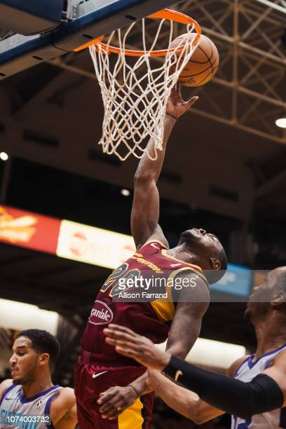 Jalen Jones of the Canton Charge reaches back for a layup against the Greensboro Swarm on December 15 2018 at the Canton Memorial Civic Center in...