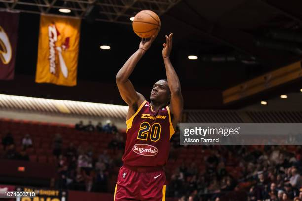 Jalen Jones of the Canton Charge shoots a 3pointer against the Greensboro Swarm on December 15 2018 at the Canton Memorial Civic Center in Canton OH...