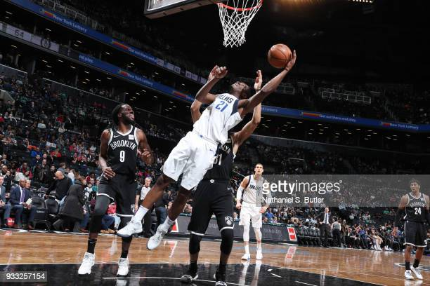 Jalen Jones of the Dallas Mavericks dunks against the Brooklyn Nets on March 17 2018 at Barclays Center in Brooklyn New York NOTE TO USER User...