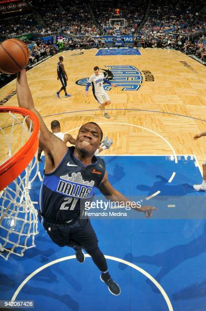 Jalen Jones of the Dallas Mavericks dunks the ball during the game against the Orlando Magic on April 4 2018 at Amway Center in Orlando Florida NOTE...