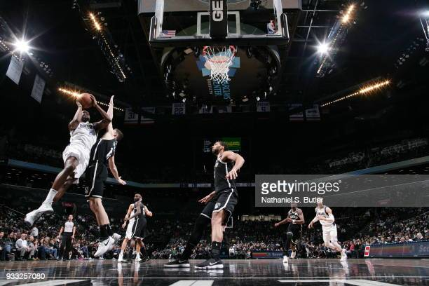 Jalen Jones of the Dallas Mavericks goes to the basket against the Brooklyn Nets on March 17 2018 at Barclays Center in Brooklyn New York NOTE TO...