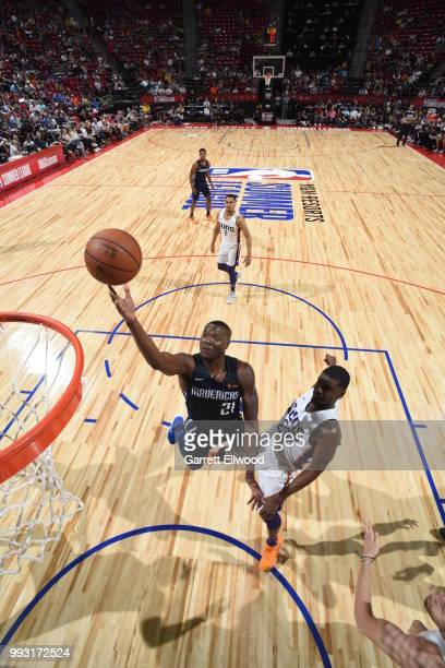 Jalen Jones of the Dallas Mavericks goes to the basket against the Phoenix Suns during the 2018 Las Vegas Summer League on July 6 2018 at the Thomas...