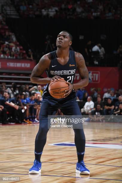 Jalen Jones of the Dallas Mavericks handles the ball against the Phoenix Suns during the 2018 Las Vegas Summer League on July 6 2018 at the Thomas...