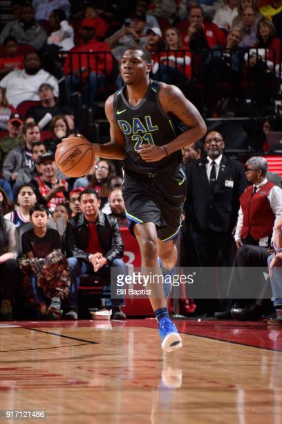Jalen Jones of the Dallas Mavericks handles the ball during the game against the Houston Rockets on February 11 2018 at the Toyota Center in Houston...